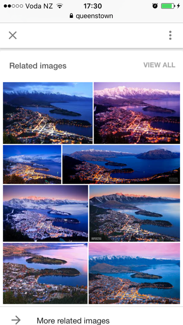 Google image search via mobile phones shows related images when you scroll down - Phancybox New Zealand digital agency