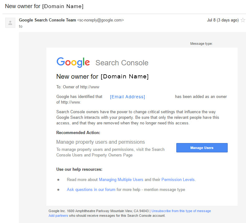 Example of the email sent via Google Search Consule to reverify new owner - Phancybox New Zealand Digital Agency in Wanaka
